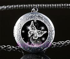 Butterfly Diamond Cabochon Glass Tibet Silver Chain Locket Pendant Necklace