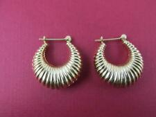 14k Solid Yellow Gold Classic Puff Hoop Lever Back Earrings