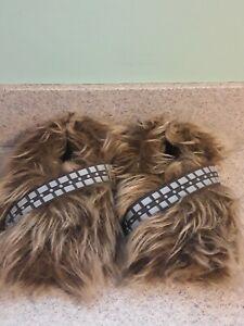 Star Wars Chewbacca Slippers Wookie Fur Feet Size L 10 11-12 Gift Bin Q