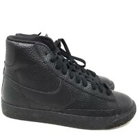 B1268 Nike Boys Blazer Mid GS Black Leather Sneaker US 4.5 Y