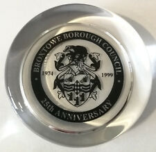 Broxtowe Borough Council 25th Anniversary 1974 – 1999 Glass Paperweight in Box