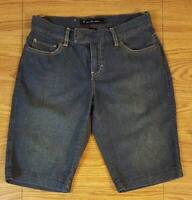 Calvin Klein Denim Bermuda Jean Shorts Womens Sz 6 Solid Dark Blue