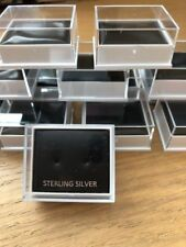 WHOLESALE JOBLOT 200 CLEAR BOXES FOR EARRINGS, GIFT, STERLING SILVER CARD BLACK
