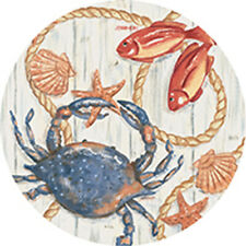 New listing Single Round Absorbent Stone Car Coaster-Blue Crab-by Carson Home Accents