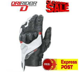 CLEARANCE Dririder Motorcycle Gloves NEW Mens Rapid leather rrp $99 SM 4XL