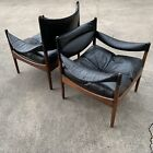 KRISTIAN VEDEL LOUNGE CHAIRS ROSEWOOD LEATHER DANISH MID CENTURY MODERN MODUS