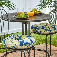Round 15 Inch Outdoor Bistro Chair Cushions Set of 2 Floral Blue Polyester New