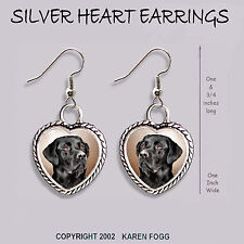 Labrador Retriever Dog Black Adult - Heart Earrings Ornate Tibetan Silver