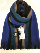 Paul Smith Men Scarf Reverse Stripe New Wood Black Made In Germany