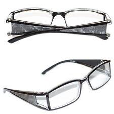 Reading Glasses VAMP Wide Side Metallic Pleather Silver Trim Square Lens +1.50