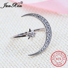 925 Solid Sterling Silver White Sapphire CZ Moon Star Ring Women Wedding Jewelry