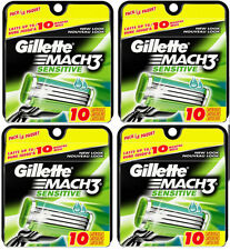 (4 PACK) Gillette Mach3 Sensitive Cartridges (10 count) Mach 3 Razor Blade NEW