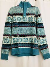 Tommy Hilfiger Men's Blue Rockport Fair Isle pullover sweater 100% Lambswool - L