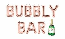 """BUBBLY BAR Letter Balloons - Champagne Balloon - 16"""" Rose Gold Letters - US SHIP"""
