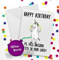 banter card, Funny Rude Birthday Card. Glitter bomb surprise card unicorn farts