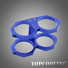 Alloy Twin Bosch 044 Fuel Pump Mounting Bracket Clamp Cradle In-line Blue