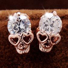 Women's Luxury Gold Skull Clear Cubic Zirconia Alloy Earrings Stud Macabre