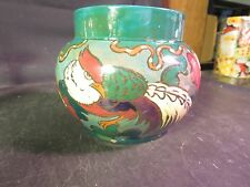 Antique Decoro Made in England Art Deco Pottery Vase Bird & Flowers AS IS