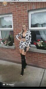 Cow Print Blazer And Shorts Co Ord Missguided 2 Piece Size 8