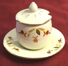 MINIATURE Covered Marmalade w/Underplate Hall Autumn Leaf Pattern w/Gold Trim