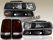 99-02 CHEVY SILVERADO HEADLIGHTS + BUMPER LIGHTS + TAIL LIGHTS DARK RED