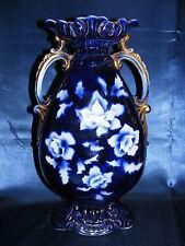 """Vintage Cobalt Blue 15"""" Vase Gold Overlay Double Handled Made in England Elite"""