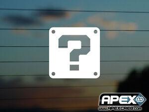 Question Mark Block Cube  - Mario Parody - Vinyl Sticker - White