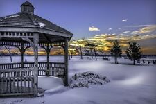 WINTER GAZEEBO LANDSCAPE POSTER 24x36 HI RES