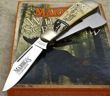 Marbles Folding Blade Scrimshaw Pocket Chopper Knife Howling Wolf