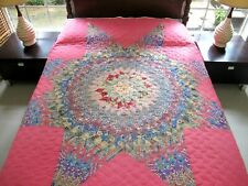 BEAUTIFUL Vintage Hand Pieced Feed Sack LONE STAR Quilt, Machine Quilted; QUEEN