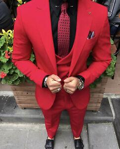 Slim Fit Herrenanzug in Rot mit Weste-Anzug-Hochzeit-Bühne-Sakko-Smoking
