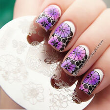 Nail Art Stamping Plate Image Stamp Template Chic Flower Pattern #Qgirl-022