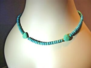 """NATURAL TURQUOISE HEARTS FEATURE NECKLACE W' SECURE MAGNETIC CLASP / 47cm-18"""""""