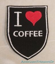 Embroidered Retro Vintage Style I Love Coffee Black Patch Iron On Sew On USA