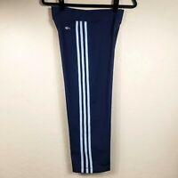 Adidas Climalite Cropped Pants L Blue Stretch Knit Hi Rise Side Stripe Capri NEW