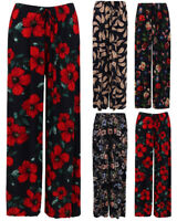 Ladies Palazzo Trousers Floral Wide Leg Stretch Baggy Harem Elasticated Womens