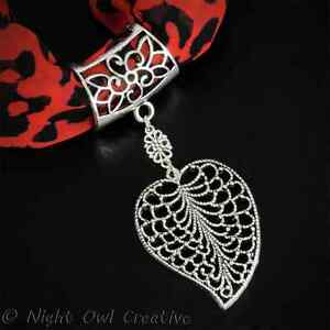 Handcrafted Scarf Ring Jewellery, Scarf Clip, Silvertone Leaf Pendant,FREE pouch