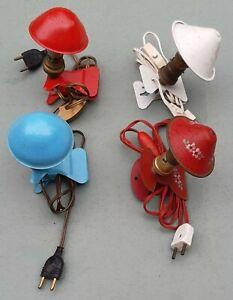 Lot de quatre lampes-champignon à pince métal années 60/70
