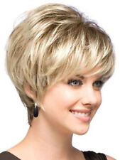 Women short hair wigs mix blonde Natural Hair Full wigs +free wig cap