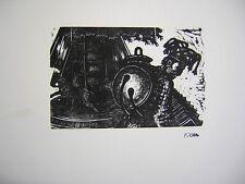 Fiszel Zylberberg Zber: Carousel Paris 30s/RARE Jewish Polish Holocaust Woodcut