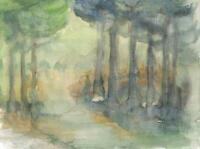 IMPRESSIONIST FOREST Watercolour Painting MIMI KNOBLE 1983 ABSTRACT