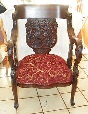 Mahogany Sea Urchin and Mermaid Carved Armchair Parlor Chair  (AC141)