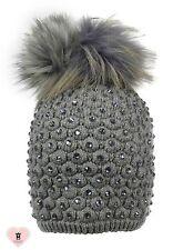 Alex Max unique designer embellished Fur Pon Pon Hat - Grey- Design From Italy