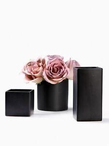 Matte Black Ceramic Cube, Square & Cylinder Vases, Vases in 3 Shapes