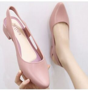 Women's Slingback Low Heel Sandals Slip On Simple Hollow Out Pumps Casual Shoes