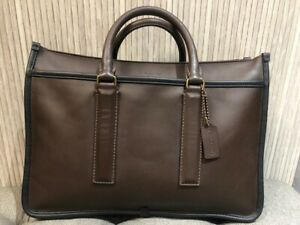 Authentic COACH 70723 Mens Business Bag Legacy Briefs Brown Leather