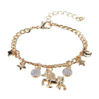 Lady's Gold/Silver Plaed Unicorn Horse&Star Charm Bracelet Link Chain Adjustable