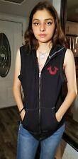 True Religion Women's World Tour Hoodie Vest,  Sz. L. Black.