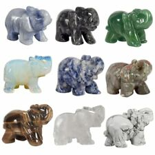 Crystal Stone Elephant Figurine Healing Gemstone Carving For Home Decoration New