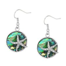 Starfish Fashionable Earrings - Abalone Shell - Fish Hook - Sparkling Crystal